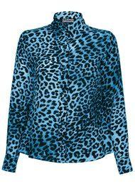 ROCKINS Classic Silk Shirt - Blue Leopard