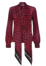 ROCKINS Pussy Bow Silk Shirt - Pink Leopard