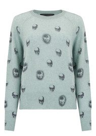 360 SWEATER Skull Cashmere Ebony Cashmere Jumper - Canal & Charcoal