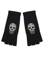 360 SWEATER Skull Cashmere Fingerless Glove - Black & Cream