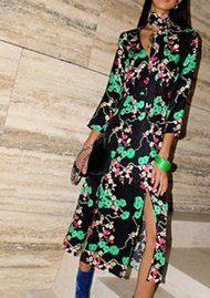 RIXO London Stella Dress - Black Cherry Blossom