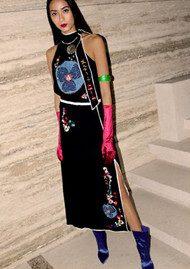 RIXO London Bamboo Midi Skirt - Black Embroidery