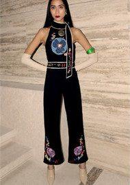 RIXO London Lou Halterneck Jumpsuit - Black Embroidery
