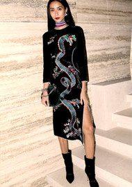 RIXO London Christabel Midi Dress - Black Embroidery