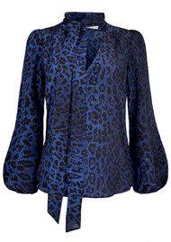 RIXO London Exclusive Moss Blouse - Blue Leopard