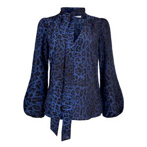 Exclusive Moss Blouse - Blue Leopard