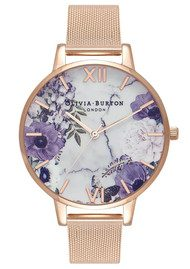 Olivia Burton Marble Floral Mesh Watch - Rose Gold
