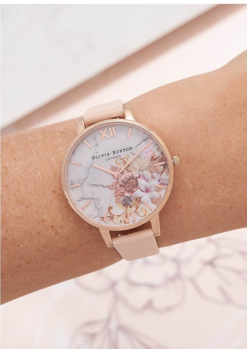 Olivia Burton Marble Floral Watch - Nude Peach & Rose Gold main image