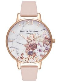 Olivia Burton Marble Floral Watch - Nude Peach & Rose Gold