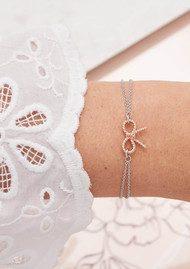 Olivia Burton Vintage Bow Chain Bracelet - Silver & Rose Gold