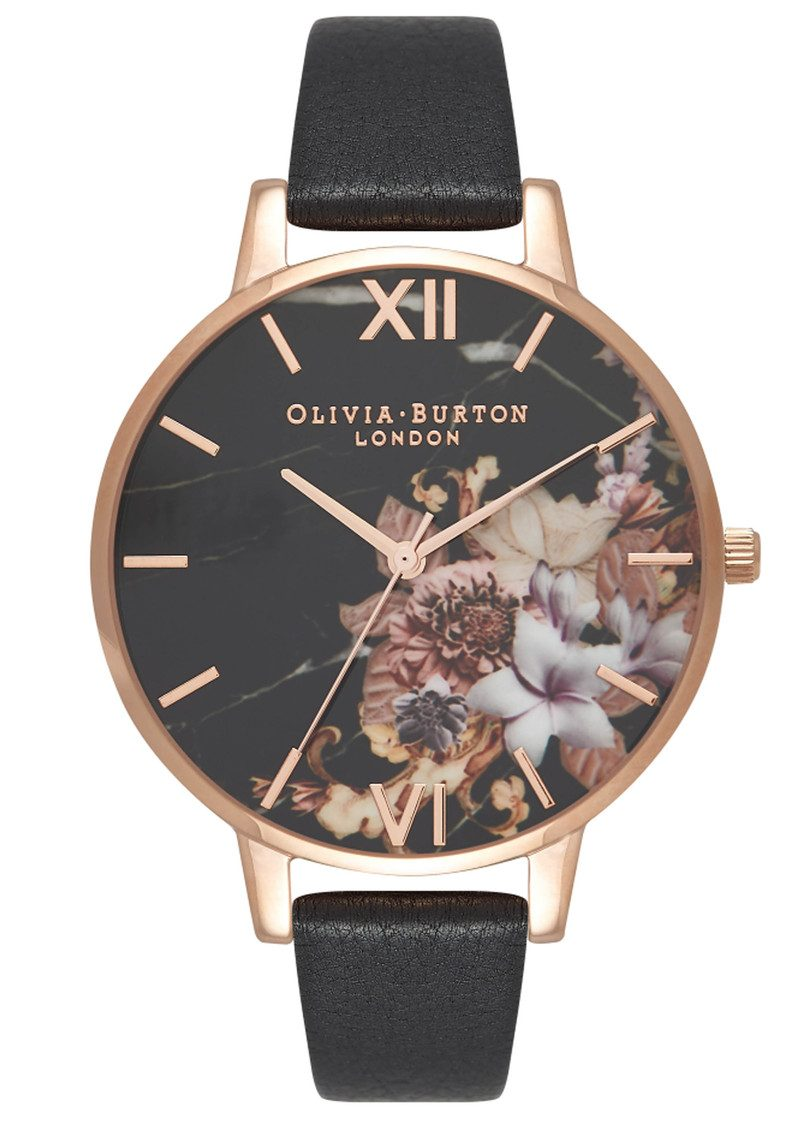 Olivia Burton Marble Floral Watch Black Amp Rose Gold