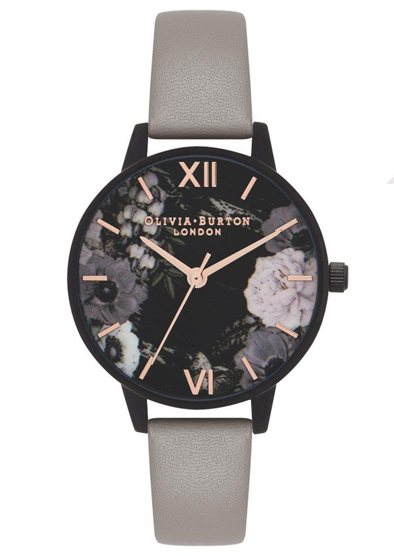 273aba4c132a5 Olivia Burton After Dark Matt Black Midi Dial Watch - Grey   Rose Gold