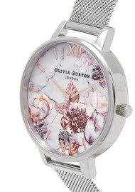 Olivia Burton Marble Floral Mesh Watch - Rose Gold & Silver