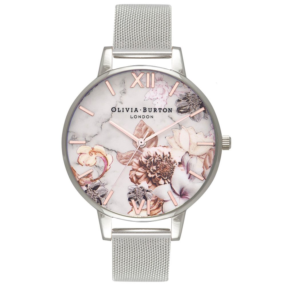 Marble Floral Mesh Watch - Rose Gold & Silver