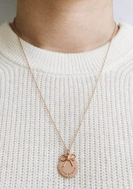Olivia Burton Coin & Bow Necklace - Rose Gold