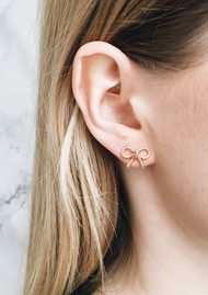 Olivia Burton Vintage Bow Earrings - Rose Gold