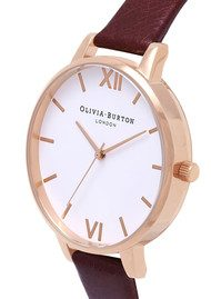 Olivia Burton Big White Dial Watch - Burgundy & Rose Gold