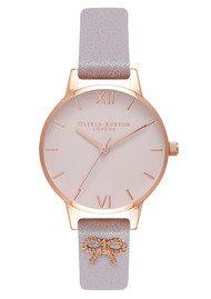 Olivia Burton Vintage Bow Embellished Strap Watch - Grey Lilac & Rose Gold