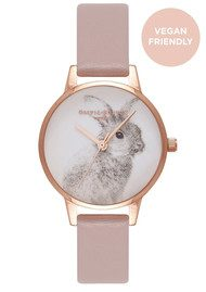 Olivia Burton Vegan Friendly Woodland Bunny Watch - Rose Sand & Rose Gold
