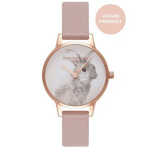 Vegan Friendly Woodland Bunny Watch - Rose Sand & Rose Gold