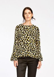 Serena Long Sleeve Top - Leopard Jaune
