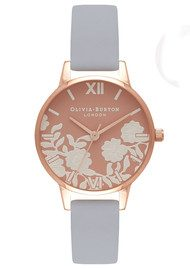 Olivia Burton Lace Detail Rose Petal Dial Watch - Chalk Blue & Rose Gold