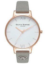 Olivia Burton Vintage Bow Embellished Strap Watch - Grey, Silver & Rose Gold
