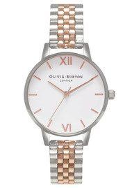 Olivia Burton Midi Dial White Dial Bracelet Watch - Rose Gold & Silver