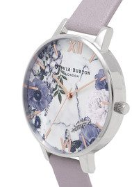 Olivia Burton Marble Floral Watch - Grey Lilac, Silver & Rose Gold