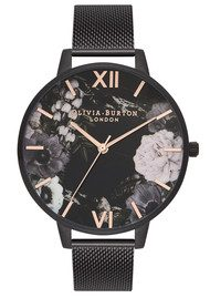Olivia Burton After Dark Floral Mesh Watch - Matte Black & Rose Gold