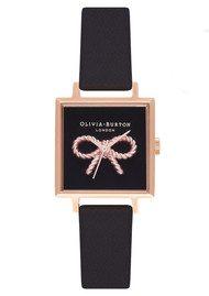 Olivia Burton Vintage Bow Watch - Black & Rose Gold