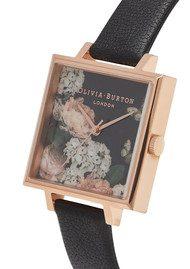 Olivia Burton Signature Floral Big Dial Square Dial Watch - Black & Rose Gold