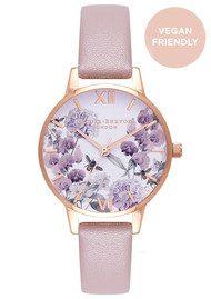 Olivia Burton Vegan Friendly Enchanted Garden Midi Watch - Rose Sand & Rose Gold