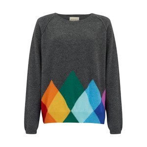 Rainbow Diamond Cashmere Jumper - Dark Grey