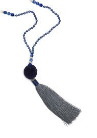 TRIBE + FABLE The Every Day Jeans Pom Pom Necklace - Navy & Blue