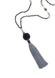 TRIBE + FABLE Day to Night Pom Pom Necklace - Black & Grey