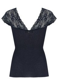 Rosemunde Silk Top with Lace - Navy