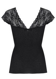 Rosemunde Silk Top with Lace - Black