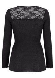 Rosemunde Long Sleeve Silk Tee - Black Night