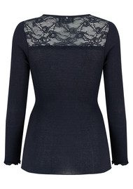 Rosemunde Long Sleeve Silk Tee - Navy Shine