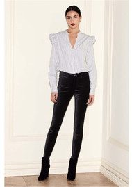 Paige Denim Hoxton Velvet Skinny Jeans - Black Overdye