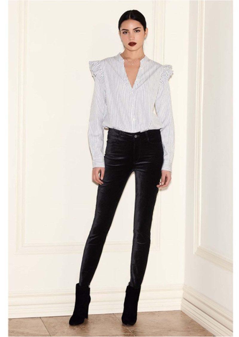 Paige Denim Hoxton Velvet Skinny Jeans - Black Overdye main image