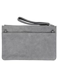 NOOKI Connie Suede Clutch - Grey Constellation