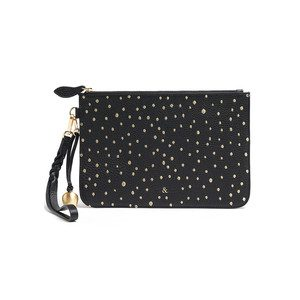 Wristlet Embellished Pebble Clutch - Black