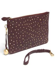 BELL & FOX Wristlet Embellished Pebble Clutch - Merlot