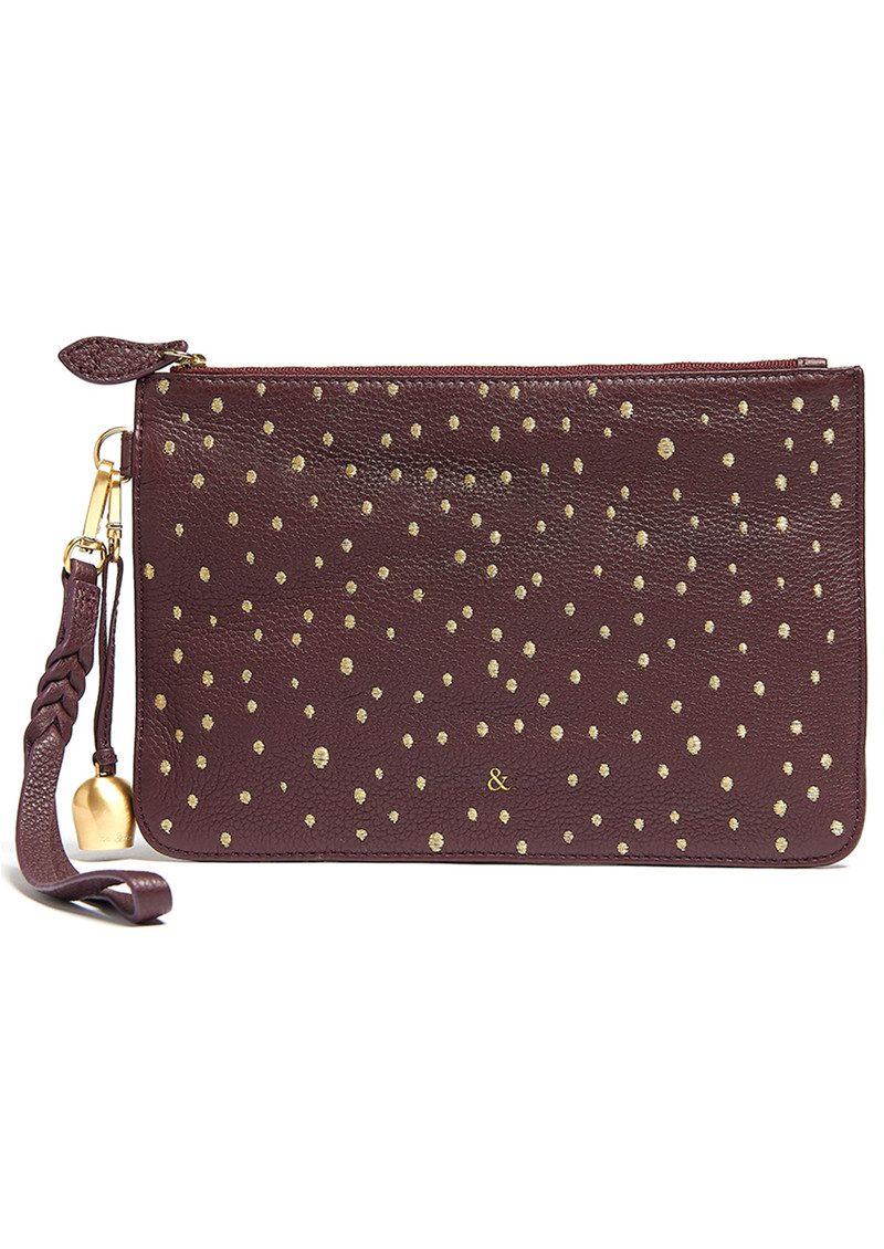 Wristlet Embellished Pebble Clutch - Merlot main image