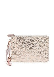 Wristlet Pony Clutch - White & Rose Gold