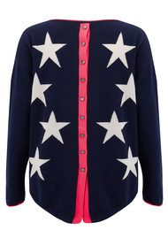 COCOA CASHMERE Star & Button Back Cashmere Sweater - Navy, Bowie & Cream