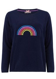 COCOA CASHMERE Rainbow Hotfix Cashmere Sweater - Navy