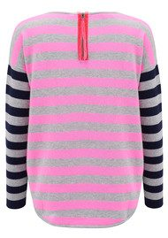 COCOA CASHMERE Striped Curved Hem Cashmere Sweater - Navy, Grey & Candy